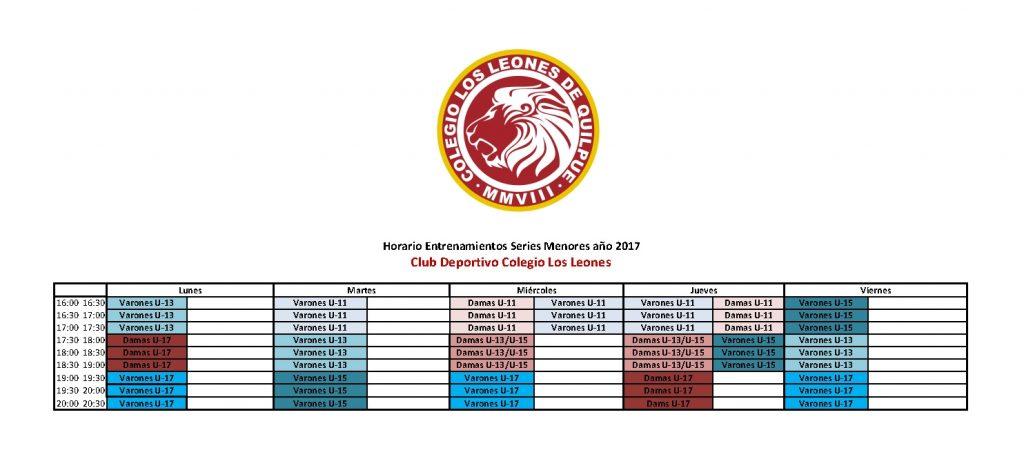 HORARIO SERIES MENORES LEONES 2017